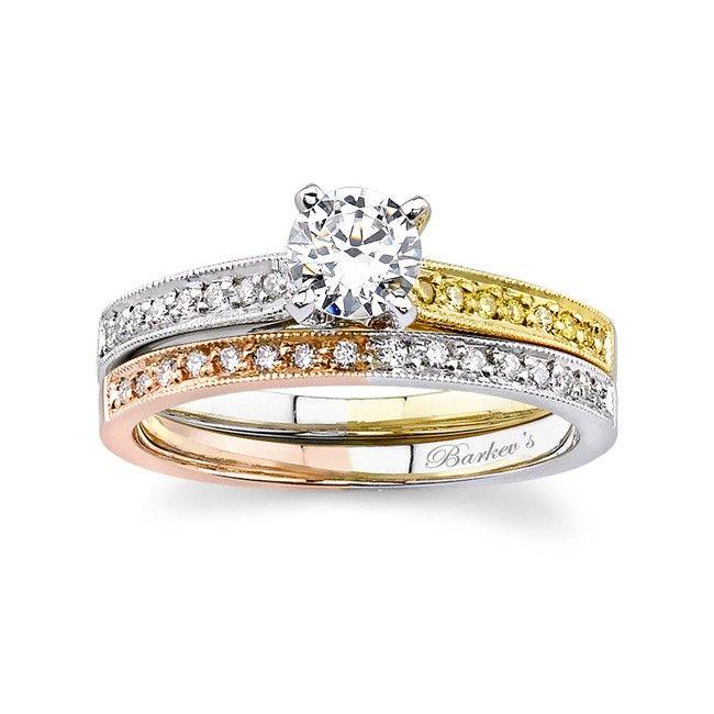 Colored Diamond Wedding Ring Sets: Tri Color Engagement Set