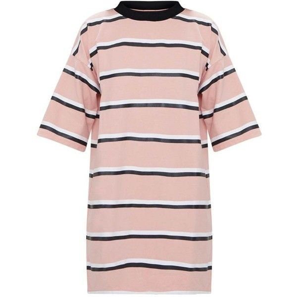 1dad9adf84c Pink Striped Oversized Boyfriend T Shirt Dress (338.875 IDR) ❤ liked on  Polyvore featuring dresses