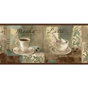 Coffee Wallpaper Borders For Kitchen | Spa Blue Coffee Ornament Wallpaper  Border Home Kitchen
