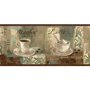 Coffee Wallpaper Borders For Kitchen Spa Blue Coffee Ornament