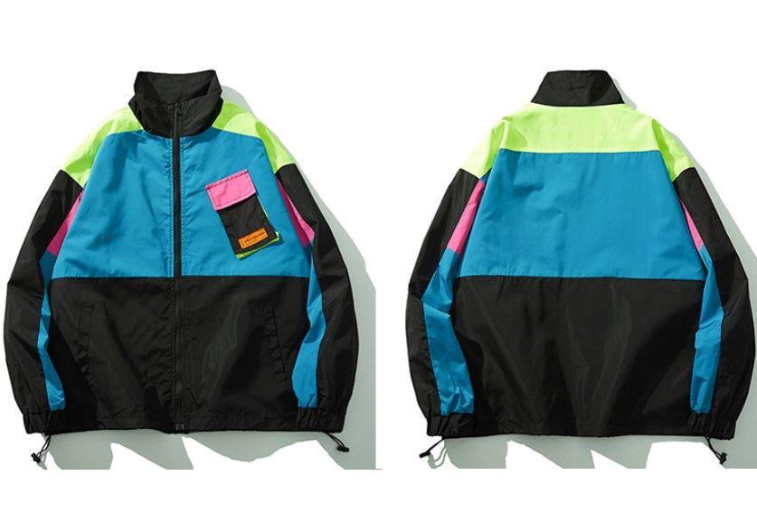 Streetwear Jacket Coat Retro Color Block From Hype Project In 2020 Streetwear Jackets Hip Hop Streetwear Street Wear