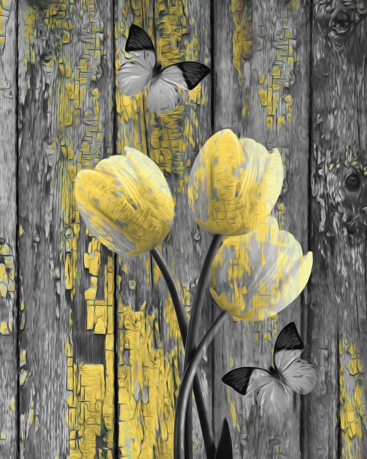 Rustic Modern Home Decor Tulip Flowers Butterfly Artwork Matted Wall ...