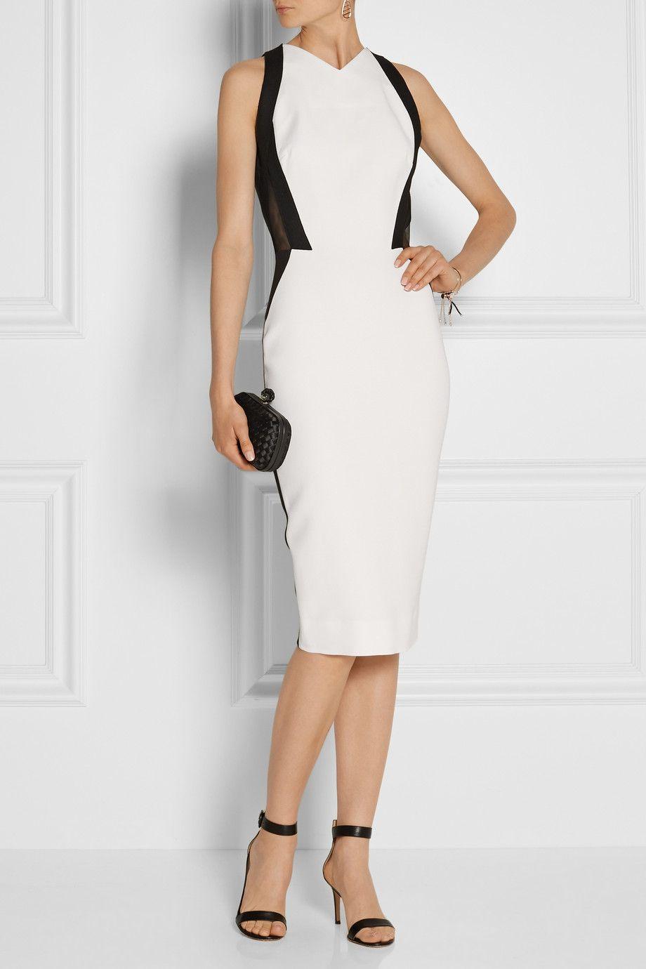 Victoria Beckham Two Tone Silk And Wool Blend Cady Dress Moda Moda Femenina Ropa [ 1380 x 920 Pixel ]