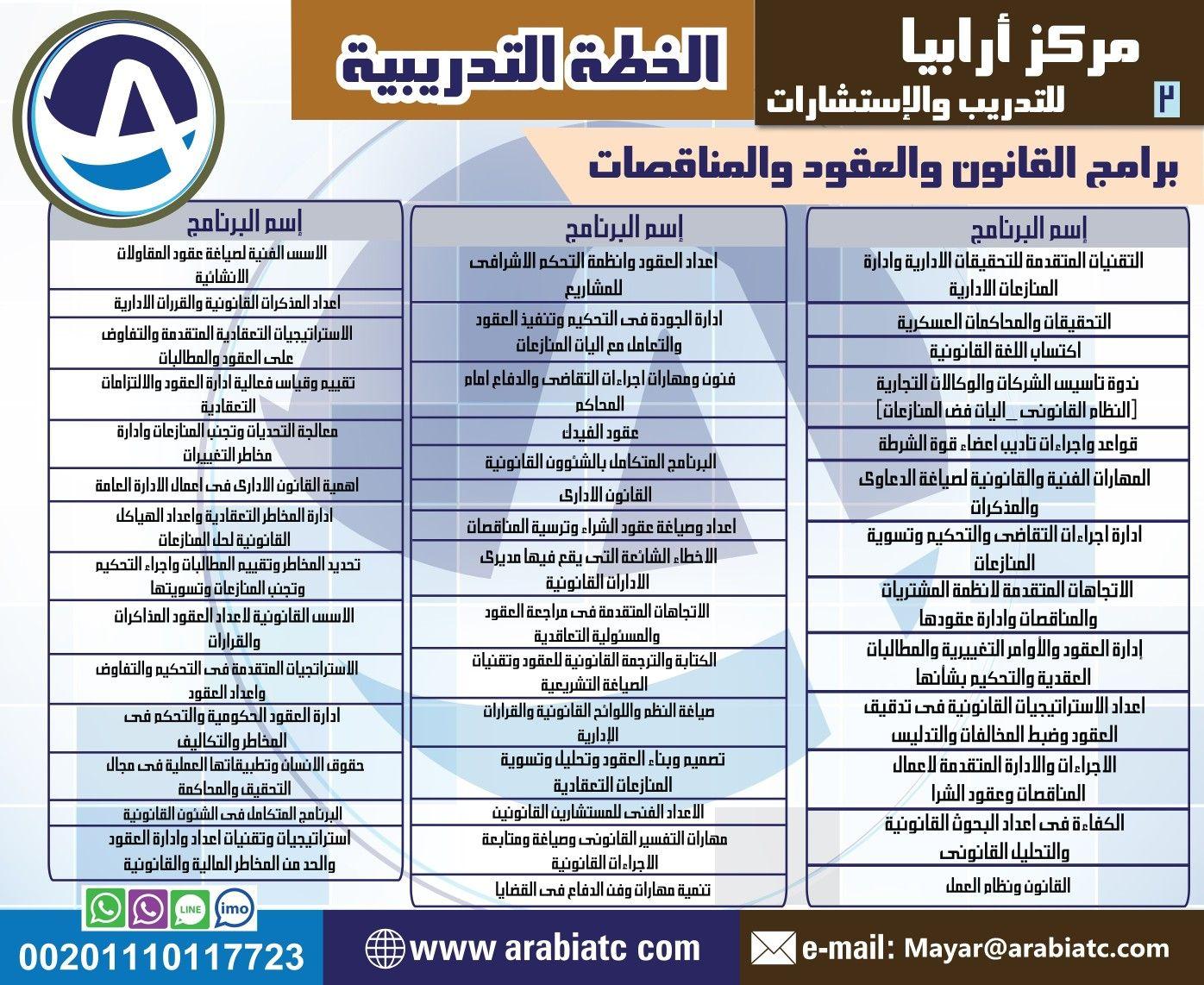 يتشرف مركز ارابيا للتدريب بتقديم اقوى البرامج التدريبية في مجال دورات القانون والعقود والمناقصات المملكة العربية السعودية الرياض جدة مكة تبوك الامار Lli Pul