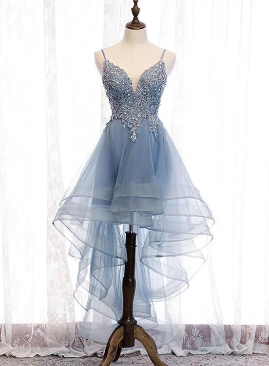 Photo of Blue High Low Tulle V-neckline Straps Party Dress with Lace, Cute Homecoming Dress 2019