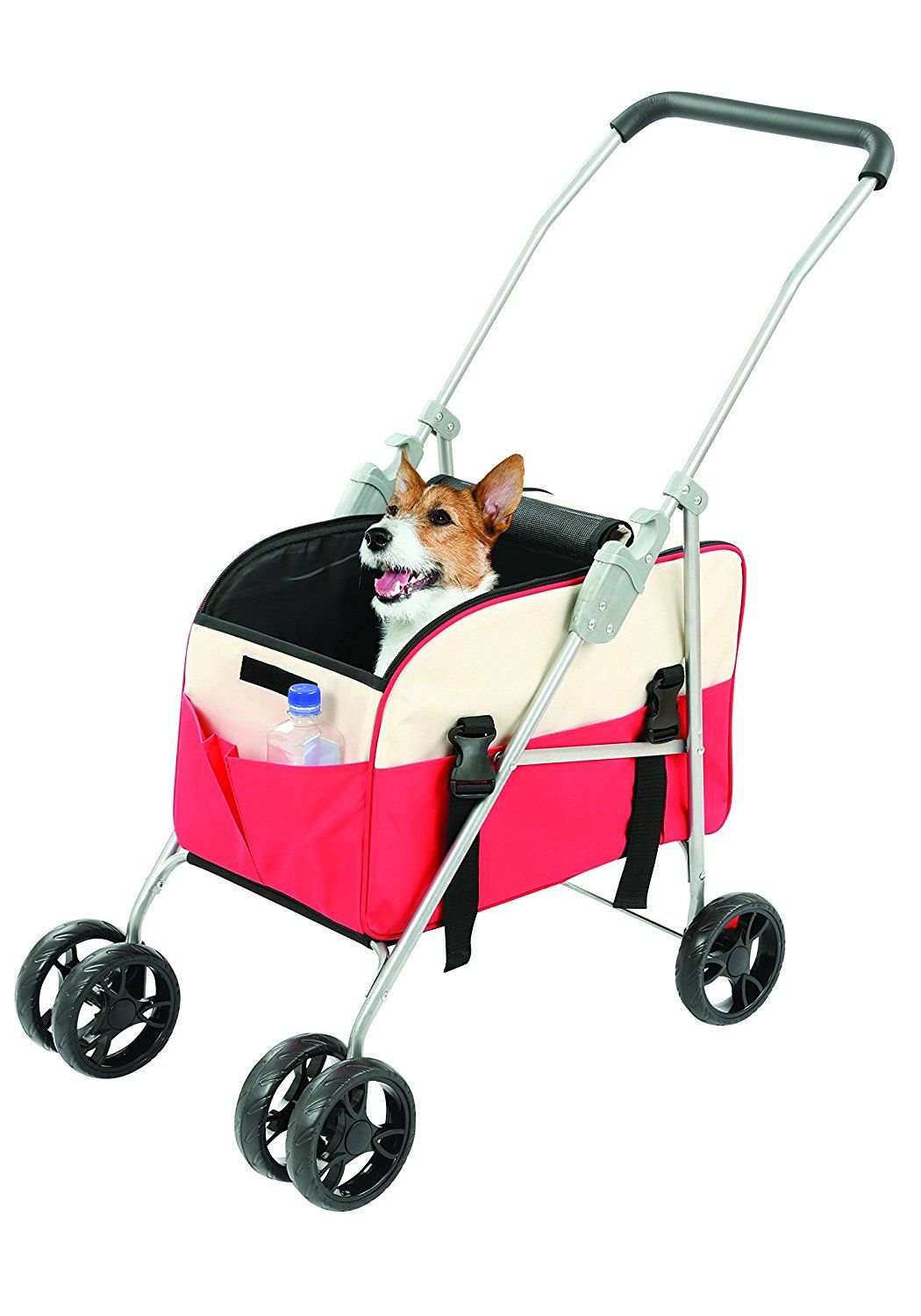 3in1 Pet Stroller, Carrier and Car Seat Red and Tan