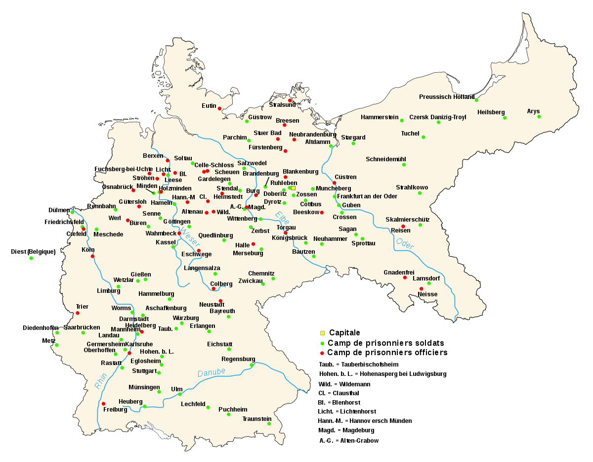 map of pow camps in germany during wwi soldiers in green and officers in red prisoners main camps in germany during world war all nationalities