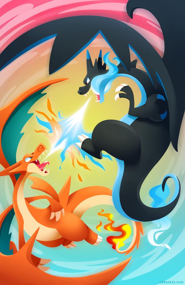Mega Charizard Sky Battle By Versiris On Deviantart Pokemon Cute Pokemon Wallpaper Pokemon Charizard