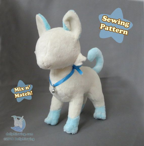 Cat Plush Sewing Pattern Feline Plushie Pattern PDF Download | Cat ...