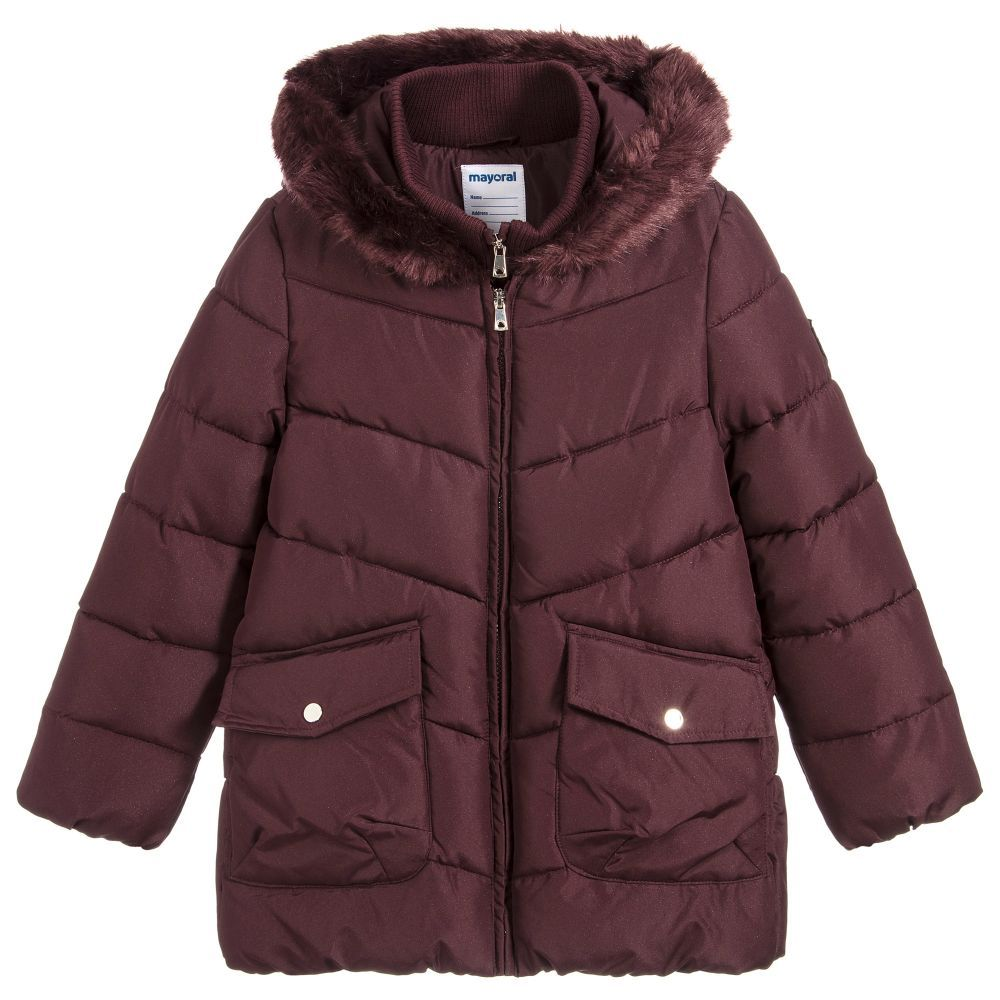 1b4bab998158 Girls Burgundy Padded Coat