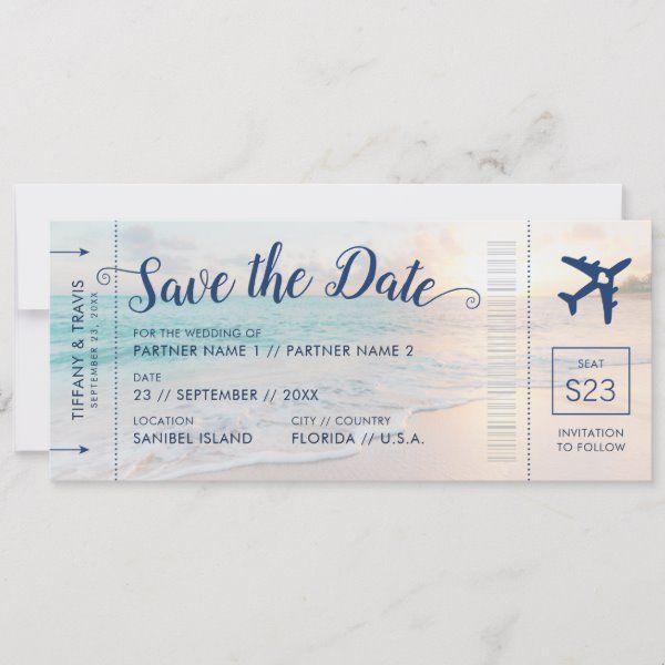 Beach Wedding Sunset Boarding Pass Save the Date Announcement