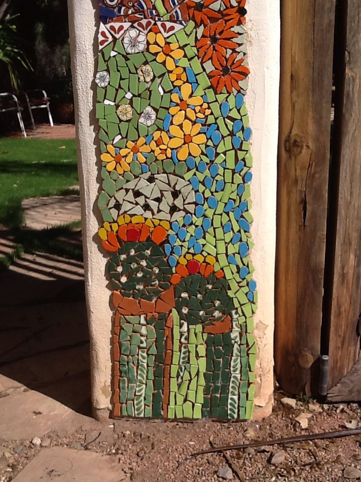 pillars in front of my house mexican tile 4 - Mosaic Tile House 2015