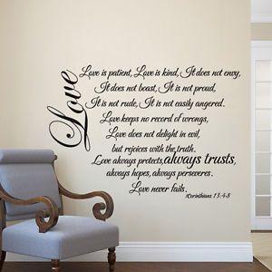1 Corinthians 13 4 8 Wall Decal Love Is Patient Quote Inspired Bible Vinyl Decor Wall Stickers Love Scripture Vinyl Bible Verse Vinyl