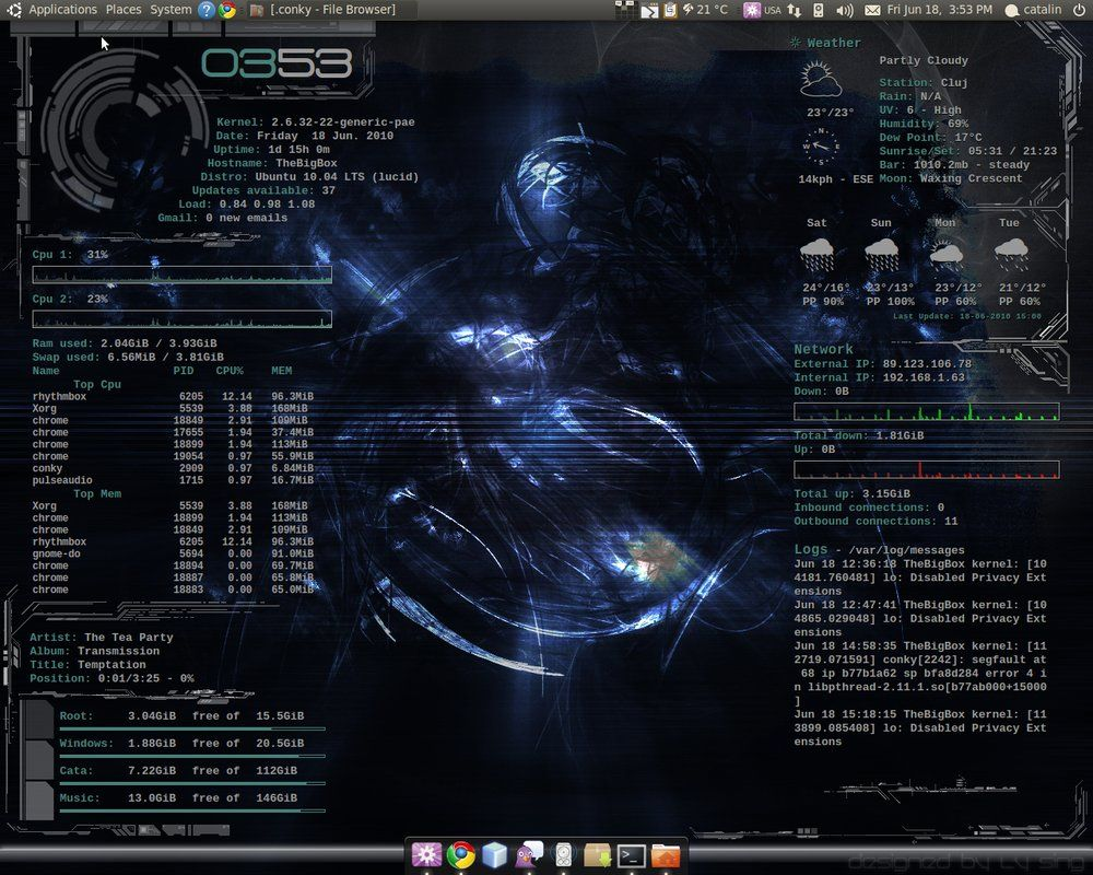 Conky empowered desktop by laserbeam3 | conky in 2019 | Desktop