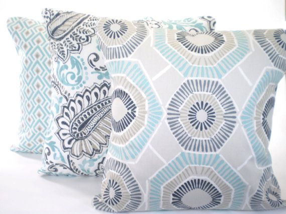 Aqua Navy Throw Pillow Covers Cushions