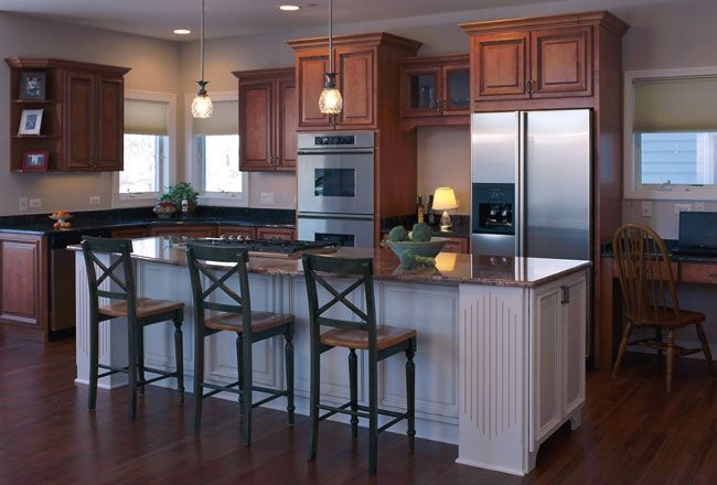 just what i want!! a mix of dark wood and white cabinetry ...