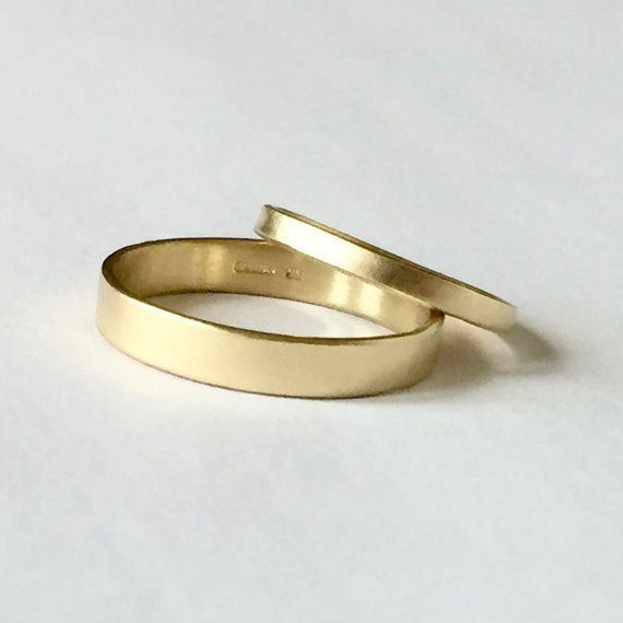 Wedding Ring Set Two Plain Bands 18 Carat Gold Men S Women Uni His Hers By Firewhite On Etsy
