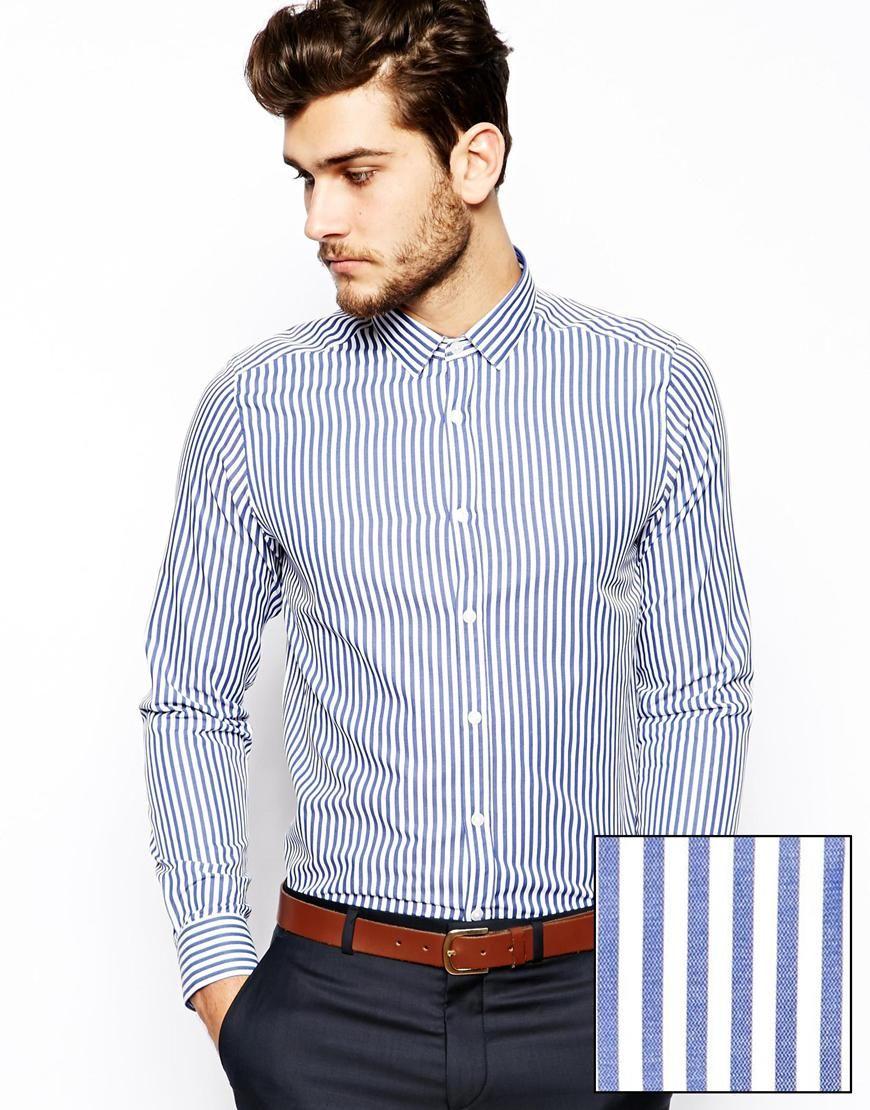 Camisa formal en líneas verticales