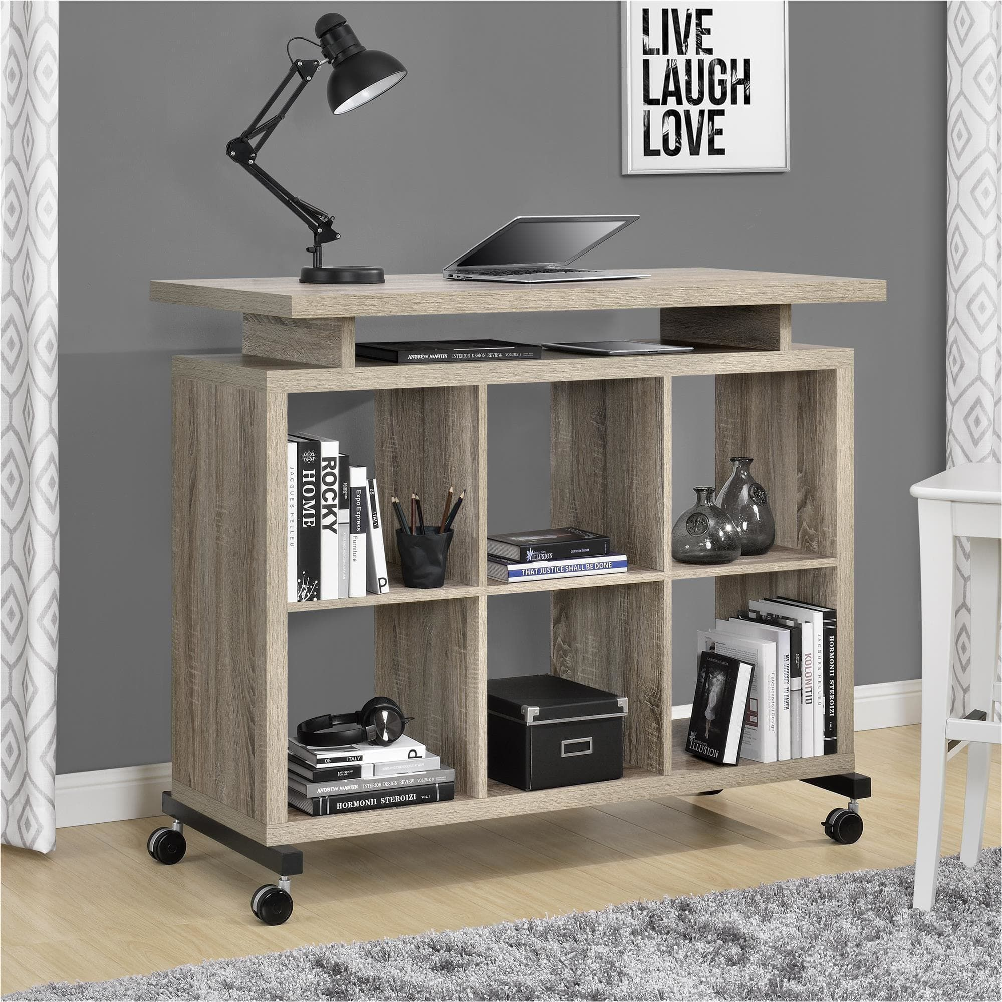 STANDING DESK Thats Also Gorgeous Shelves 200 And Payment Plan Available Wheels Optional Overstock Ameriwood Home Lincoln Sonoma Oak