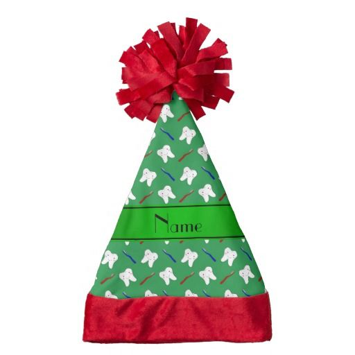 Personalized Name Green Brushes And Tooth Pattern Pattern Santa Hat Perfect Teeth