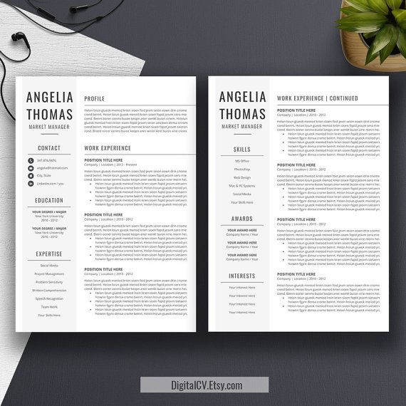 Professional Resume Template, CV Template, Cover Letter, MS Word - microsoft office resume templates for mac