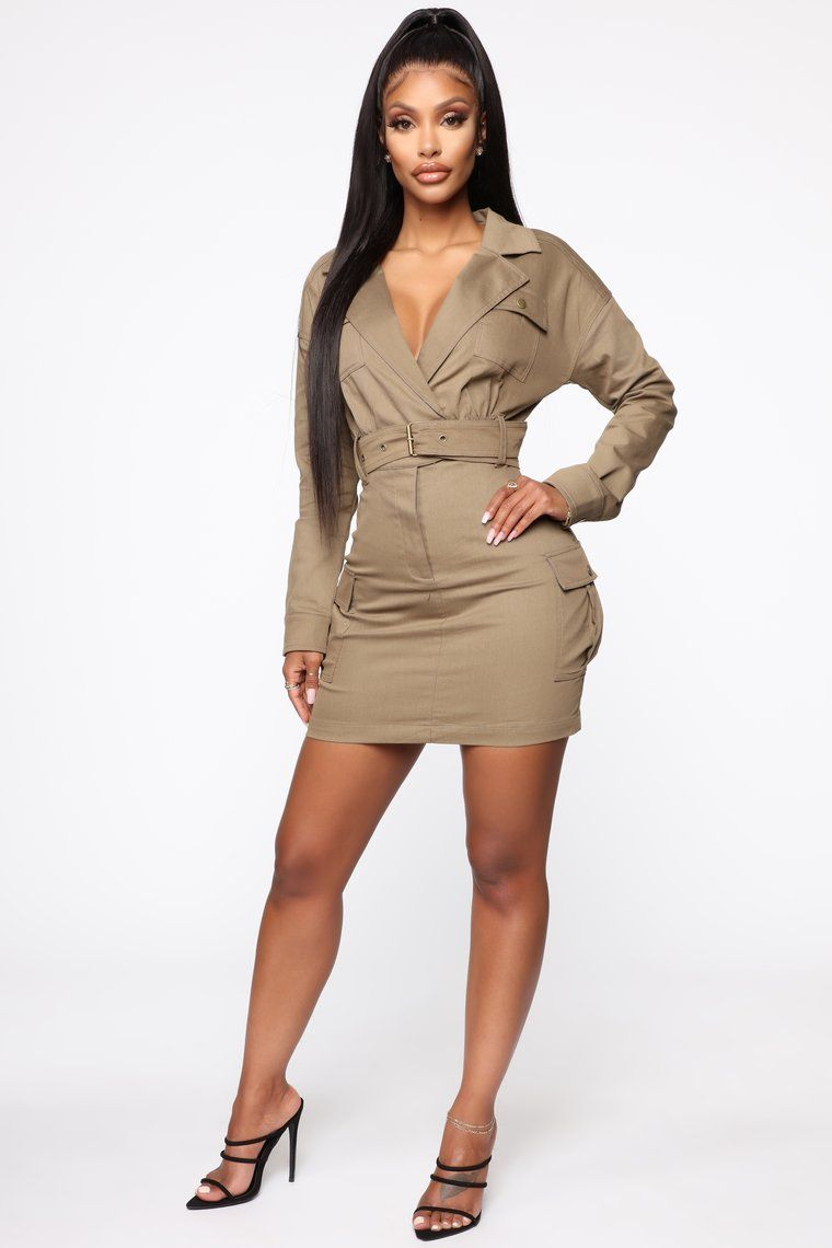 Carry Cargo Mini Dress Brown New Arrival Dress Black Women Fashion Mini Dress Party