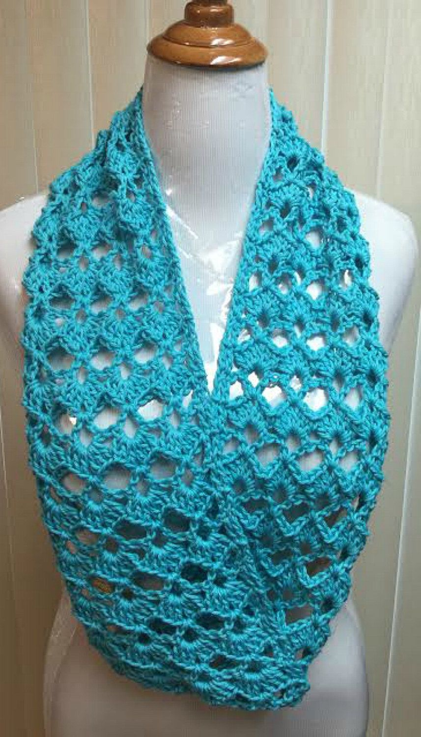Crochet Scarf, Turquoise, Blue, Infinity Scarf, Cotton, Spring ...