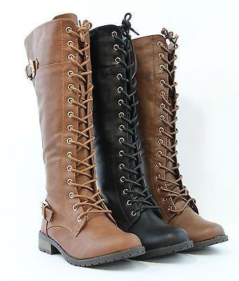 New Women Knee High Lace Up Military Combat Boots Riding Style With Zipper Boot