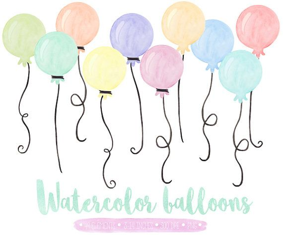 Balloons Clip Art Watercolor Balloon Clipart Birthday Balloon