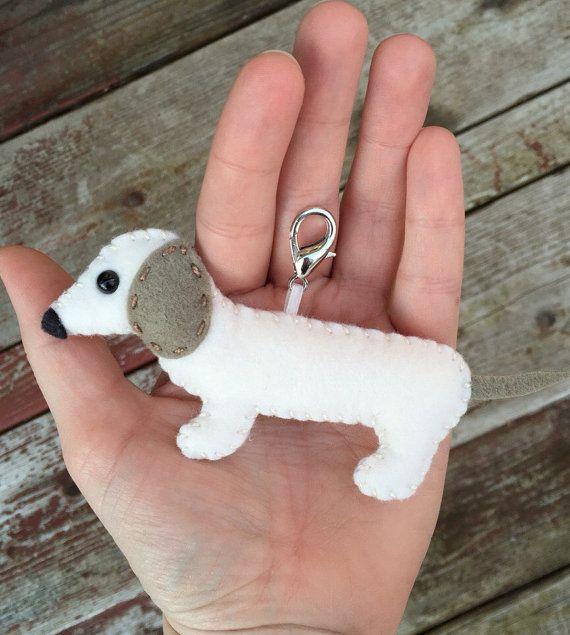 Wool Felt Dachshund Wiener Dog Christmas Ornament Keychain Mobile Attachment Planner Charms Car Mirror Plush Toy Stuffed Animal Felt Dog Ornament Dog Christmas Ornaments Puppy Crafts