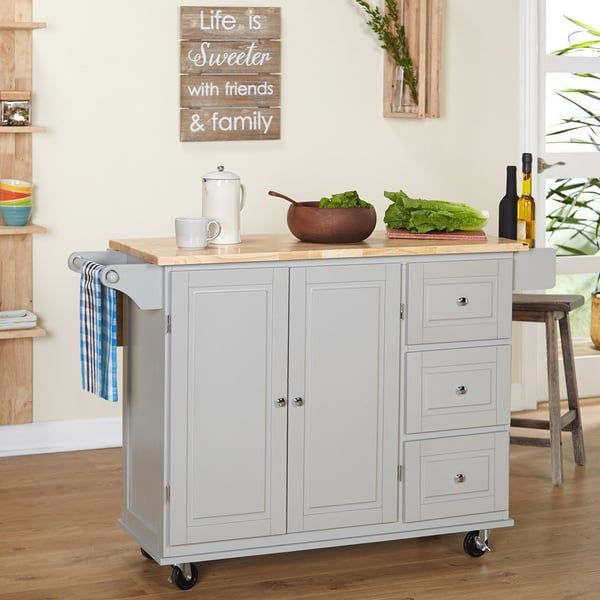 Simple Living Aspen 3-drawer Drop Leaf Kitchen Cart | new apartment ...