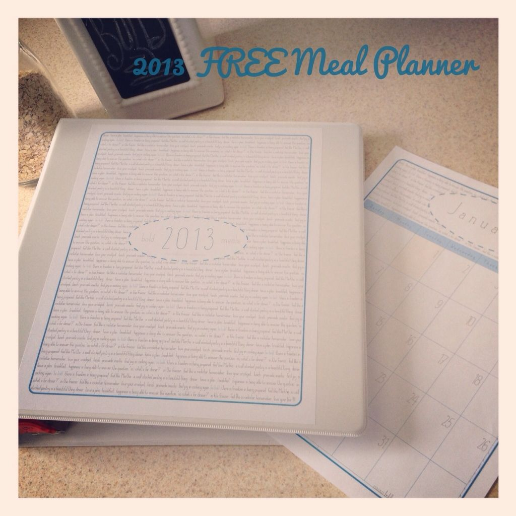 FREE 2013 Bold Meal Planner