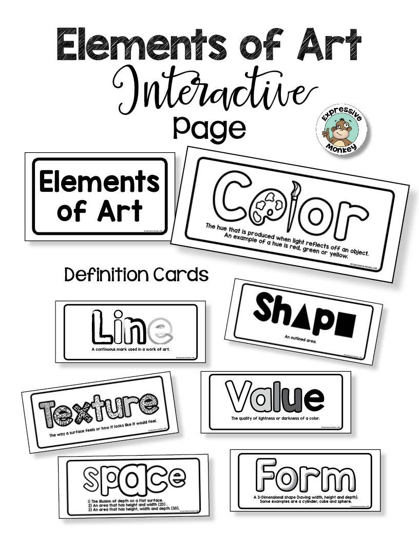 elements of art interactive page - comes with definition cards