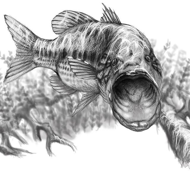 commissioned largemouth for saltarmour art fishing