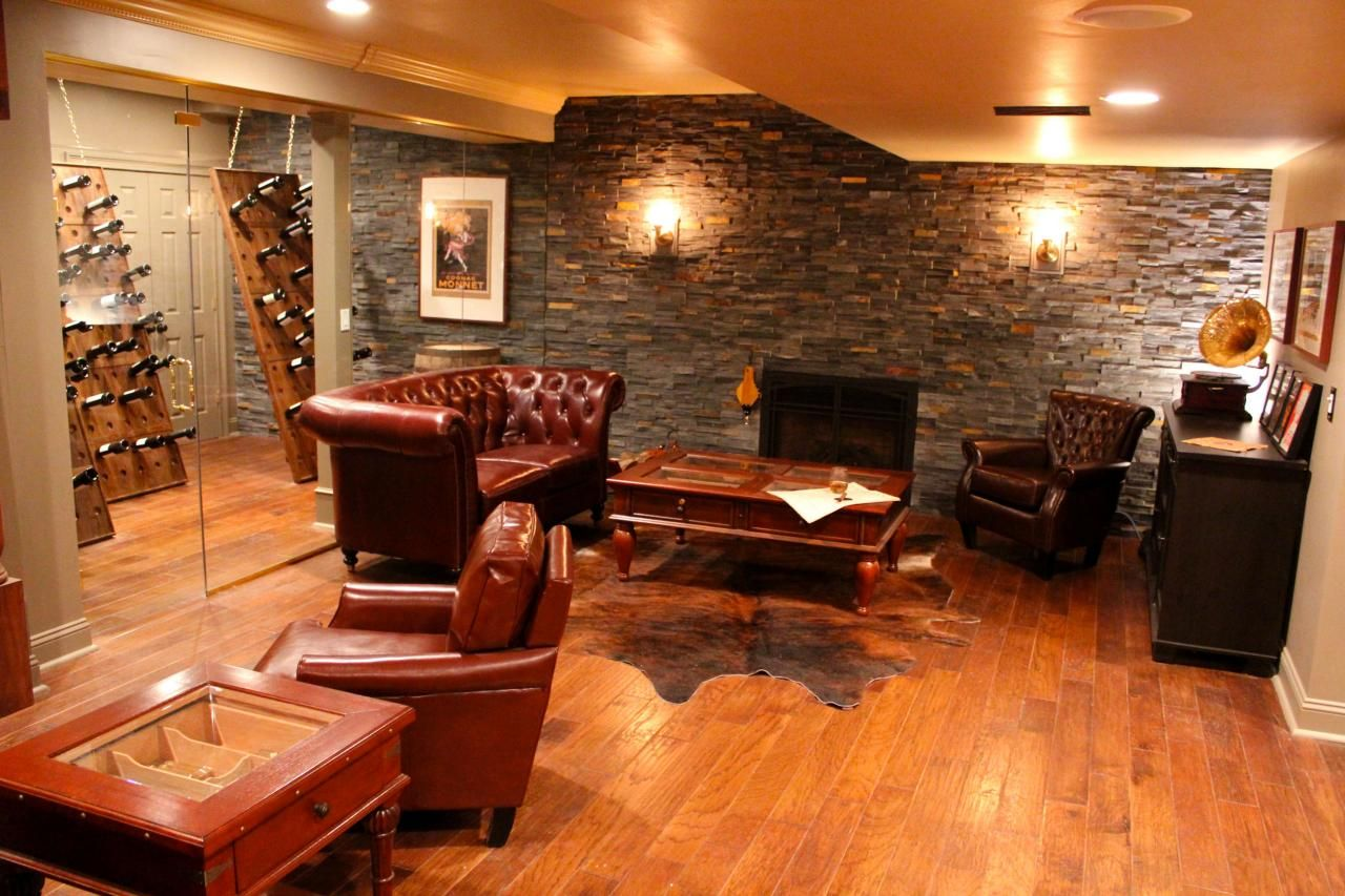 Man Cave Show Melbourne : Luxurious man cave smoking room with creatively displayed wine
