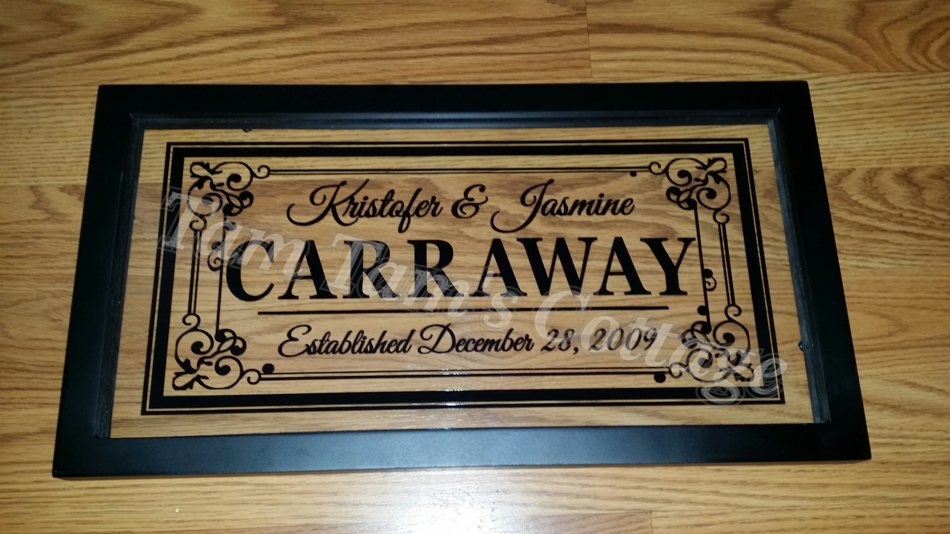 16x8 Float Frame Name On Topest Date From Tam Tams Cottage