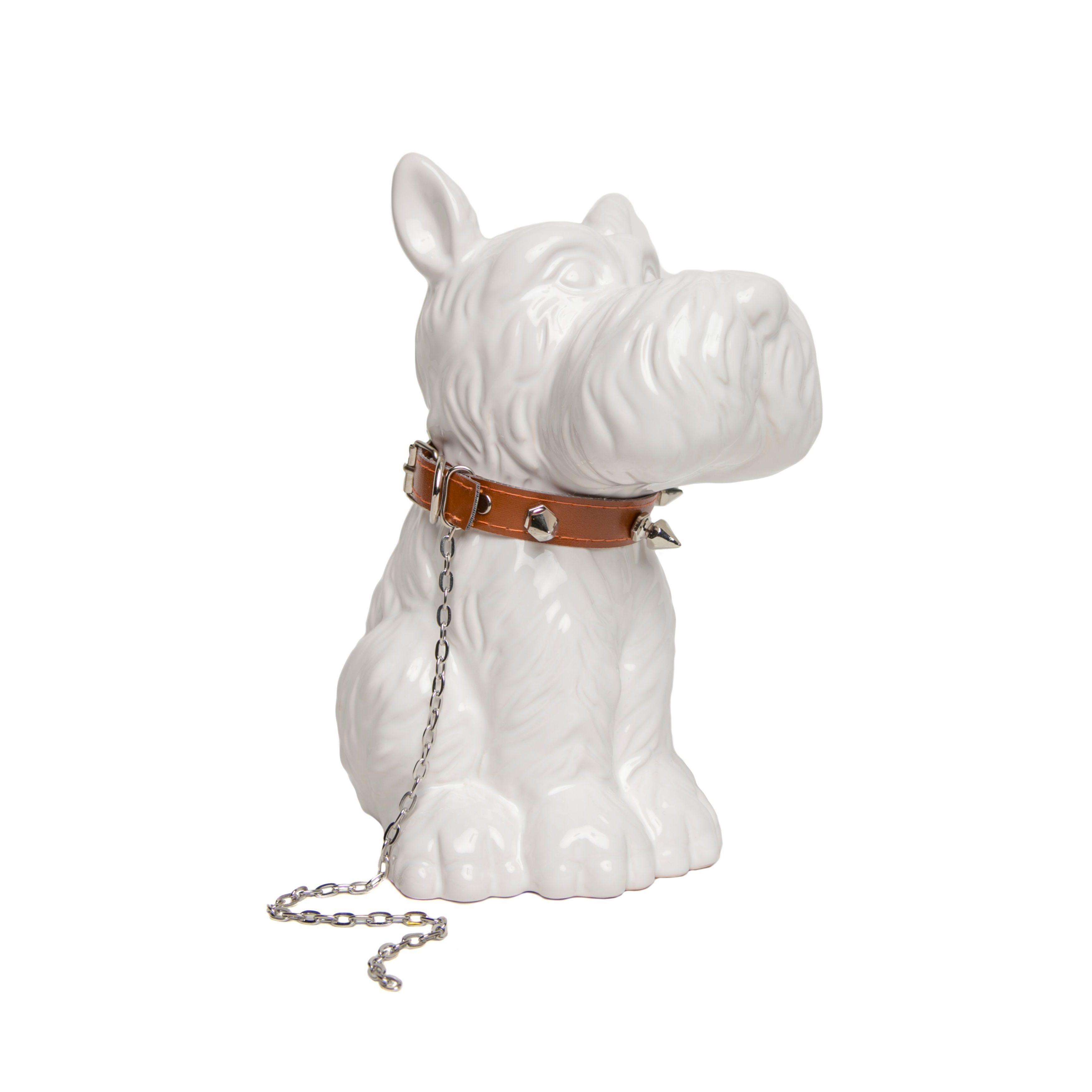 Scottie Dog Bank with Brown Collar (Accent Piece), White (Ceramic ...