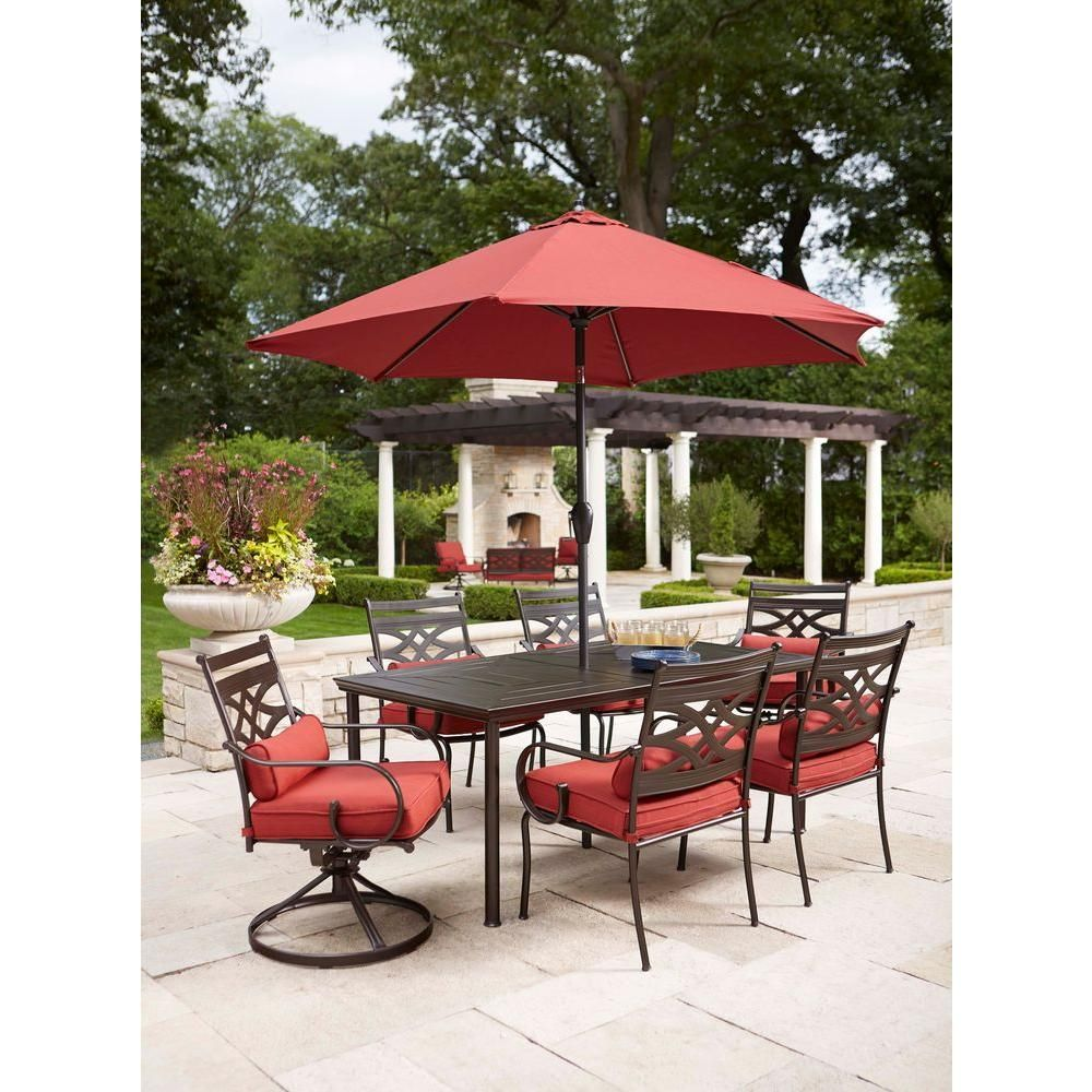 Hampton bay middletown piece patio dining set with chili cushions