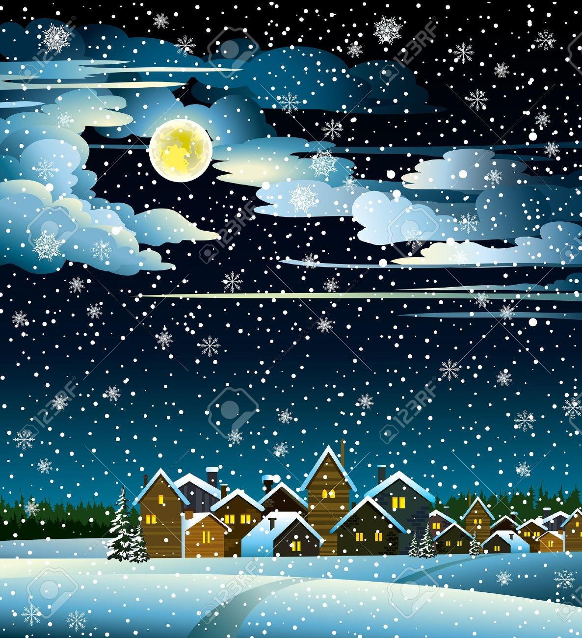 Winter landscape with snow houses, forest and fool moon