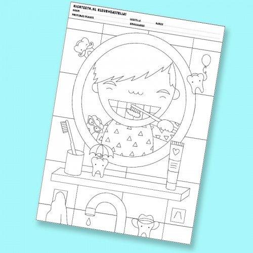 kleurplaat-jongen | Lichaam Lesideeën | Pinterest | Zahnpflege ...