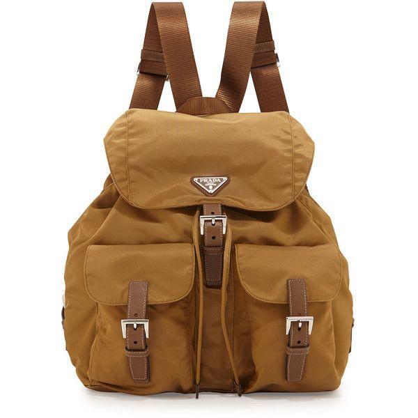 Prada Vela Large Two-Pocket Backpack (3.895 BRL) ❤ liked on Polyvore featuring bags, backpacks, pocket backpack, brown backpack, brown bag, nylon drawstring backpack and brown leather backpack