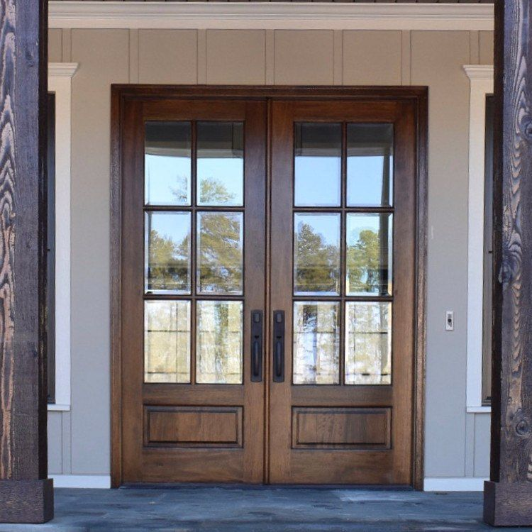 Farmhouse Style Front Door.6 Lite True Divided Lite Double Entry Door 6 8 And 8 0