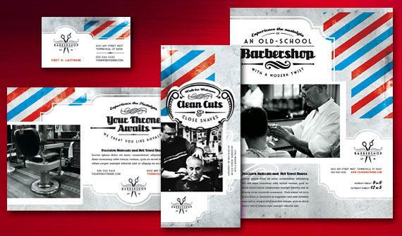 Barbershop Brochure, Postcard, Flyer \ Ads, and Stationery Designs - hair salon flyer template
