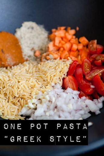 One Pot Pasta Greek Style - aus 1 Pot Pasta ...basta #easyonepotmeals