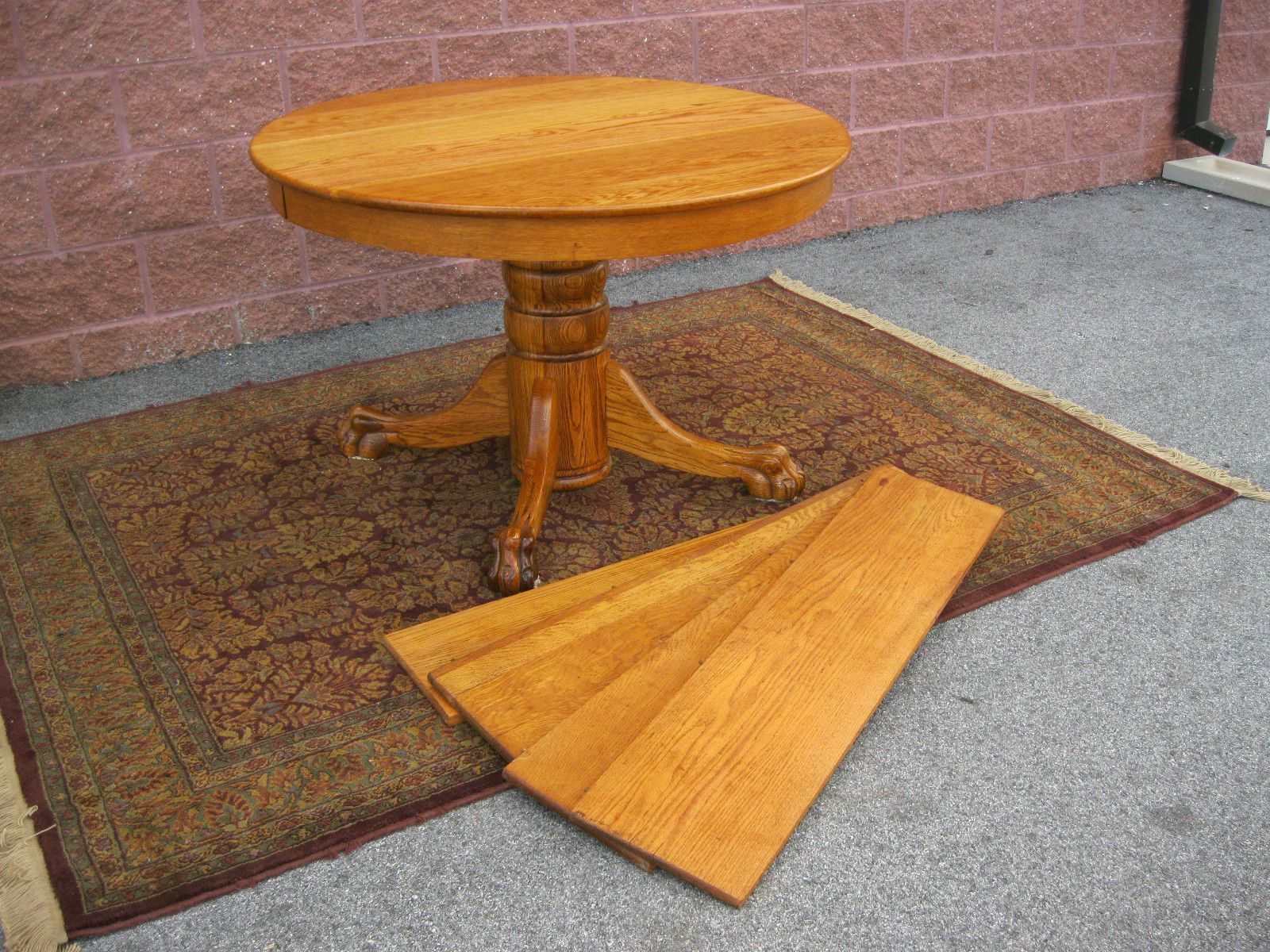 details about antique round solid oak lions paw foot dining table with 4 leaves pedestal base. Black Bedroom Furniture Sets. Home Design Ideas