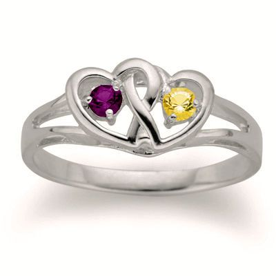 Couple S Interlocked Hearts Simulated Birthstone Ring In