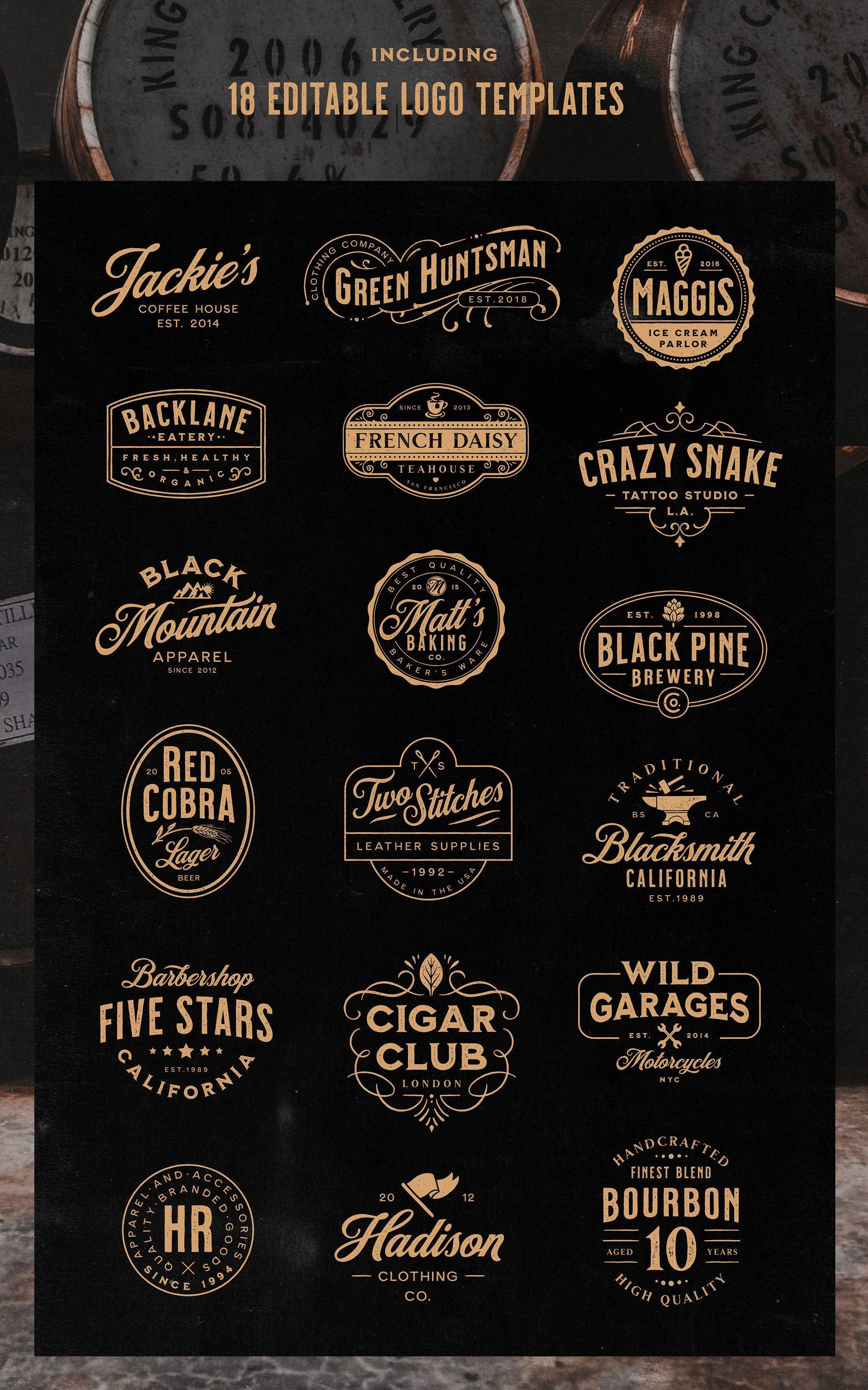 Milkstore Font Collection Logo Templates Vintage Logo Design Badge Design