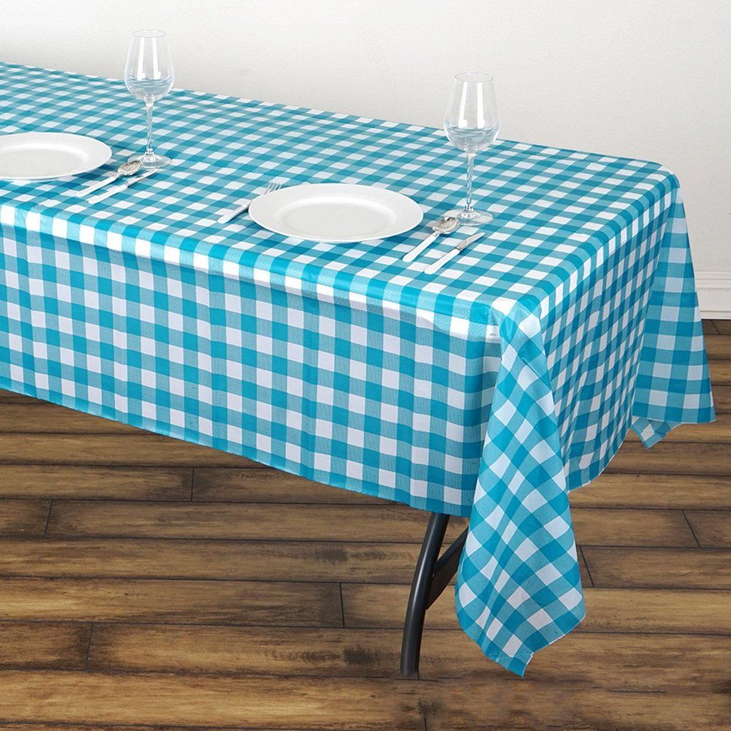 Buffalo Plaid Tablecloth 54 X 108 White Turquoise Rectangular Spill Proof Tablecloths Disposable Checkered Plastic Vinyl Waterproof Tablecloths In 2020 Plastic Table Covers Waterproof Tablecloth Plastic Tables