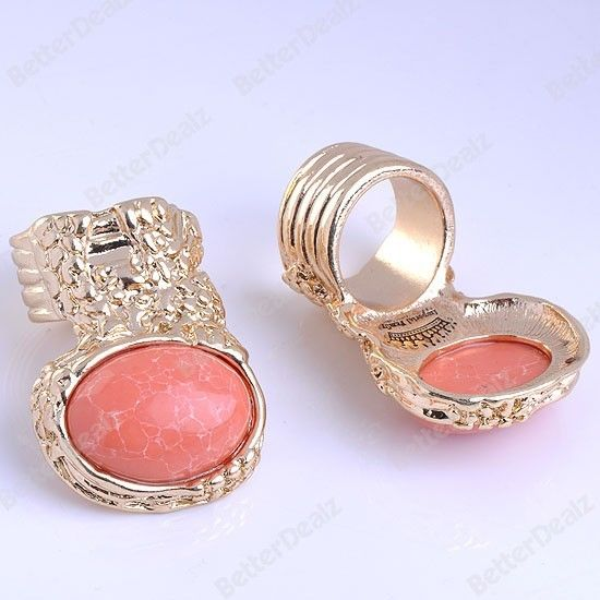 1PC Orange Howlite Turquoise Oval Bead Golden Fashion Finger Ring Korean Style