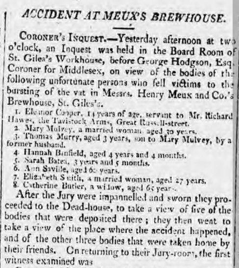Newspaper Report On The Great London Beer Flood  Beer